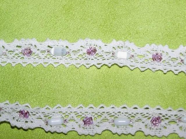 Dentelle amandine coton blanc perle 1