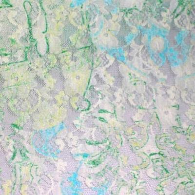 Dentelle lycra fleurie blanc cyan vert menthe 3