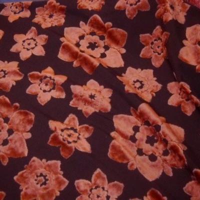 Dévoré fleurs velours orange 1