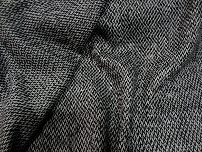 Drap de laine motif tisse noir et blanc 2
