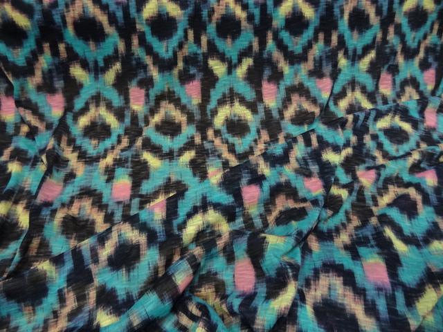 jersey coton fin motifs ethniques turquoise 02