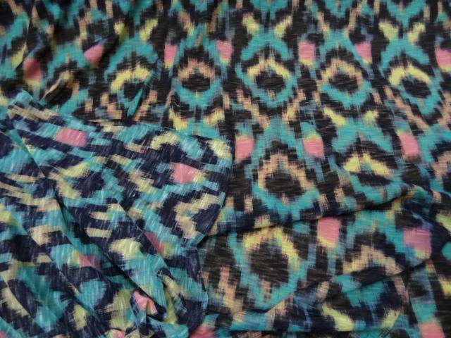 jersey coton fin motifs ethniques turquoise 01