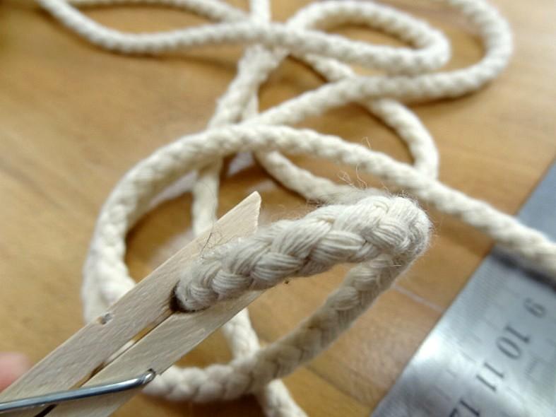 cordon tressé en coton écru 8 mm