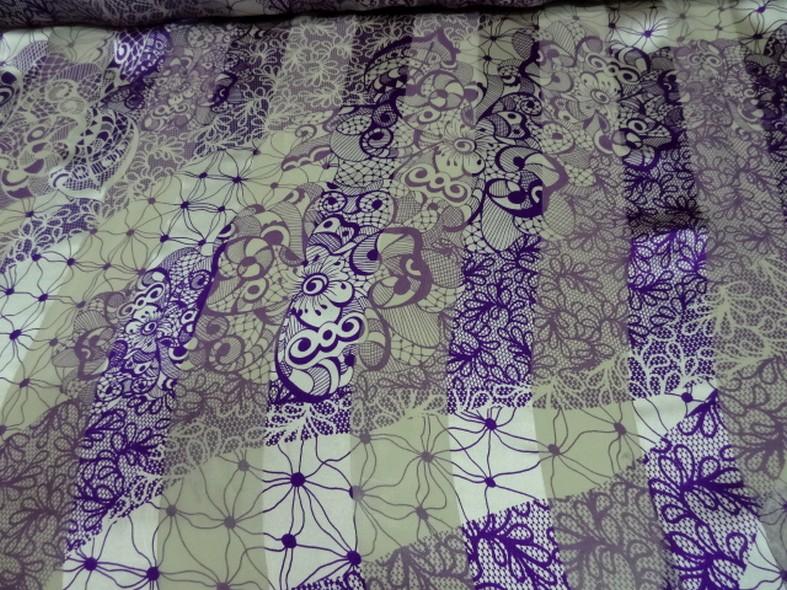 mousseline de soie semi-transparente fleurs vintage blanc et violet 04