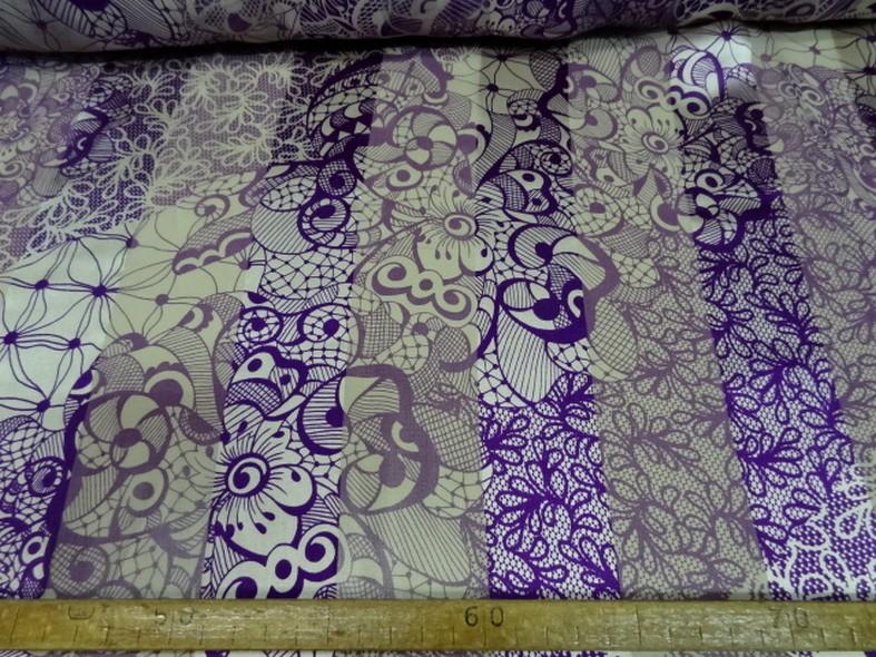 mousseline de soie semi-transparente fleurs vintage blanc et violet 03