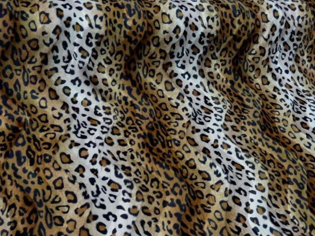 Fausse fourrure a poil ras marron et blanc imprime leopard