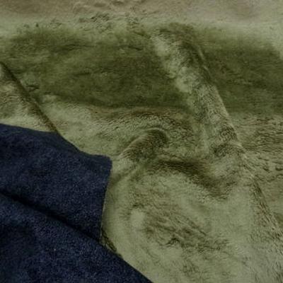 Fausse fourrure kaki clair revers anthracite 1