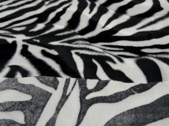 Fausse fourrure poil ras imprime zebre 2