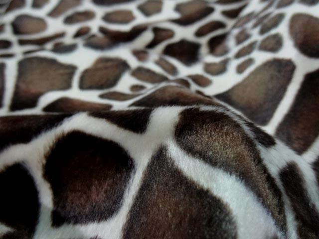 Fausse fourrure poil ras imprimee girafe 2