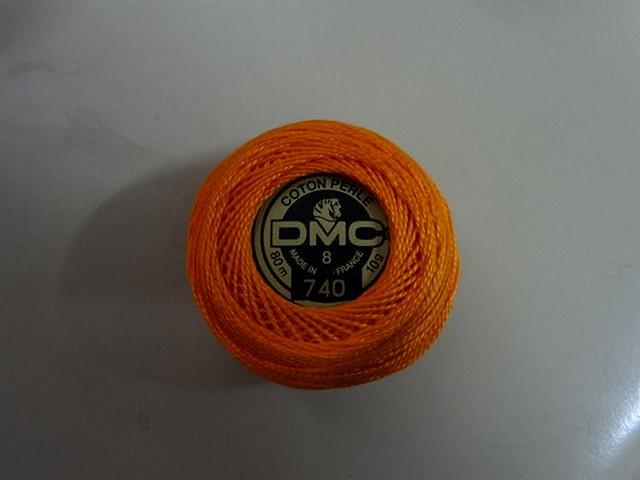 Fil coton perle dmc 740 orange 1