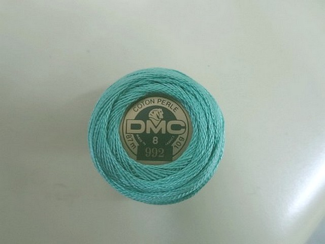 Fil coton perle dmc 992 bleu givre 2