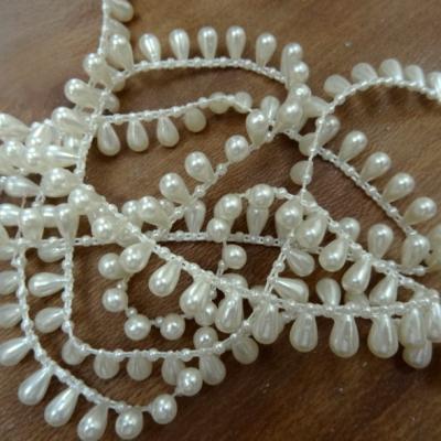 Fil de perles en goutte blanc casse nacre 1