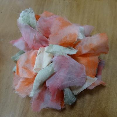 Fleur a coudre en mousseline orange rose vert 1