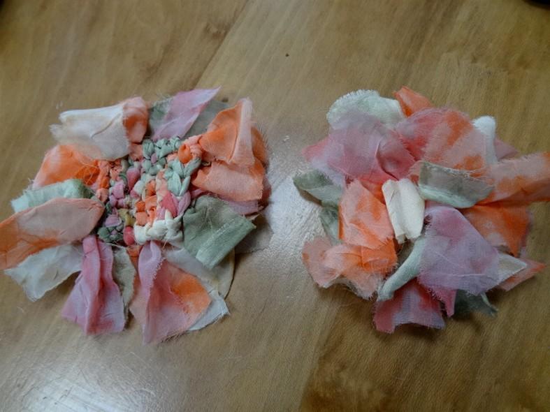 Fleur a coudre en mousseline orange rose vert 3