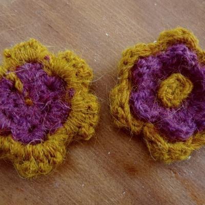 Fleur a coudre mohair ocre magenta 2