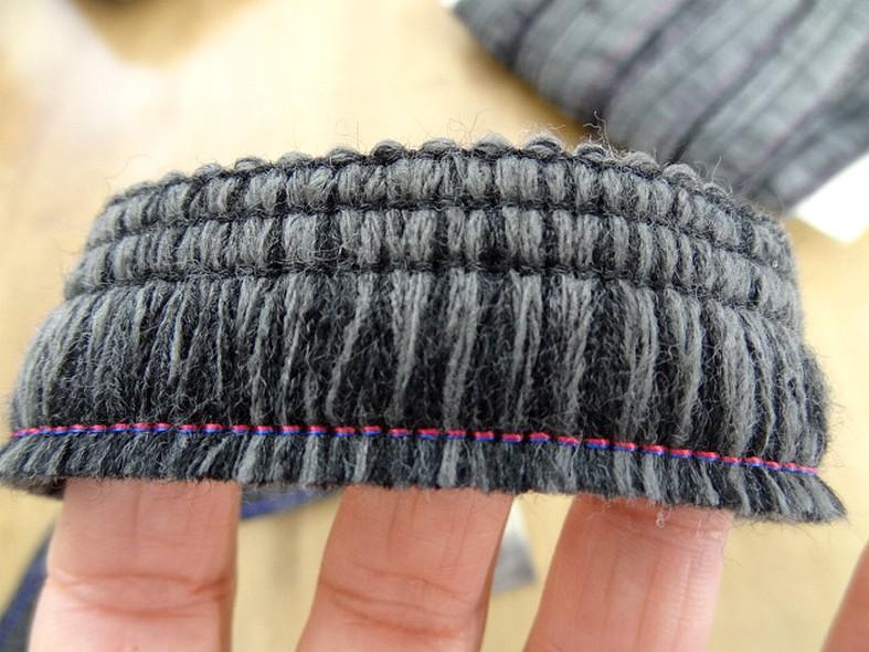 Frange bicolore en laine melangee anthracite et ardoise 26 mm 3