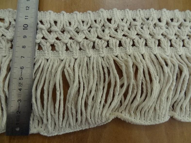 Frange coton ecru avec embase epis 2