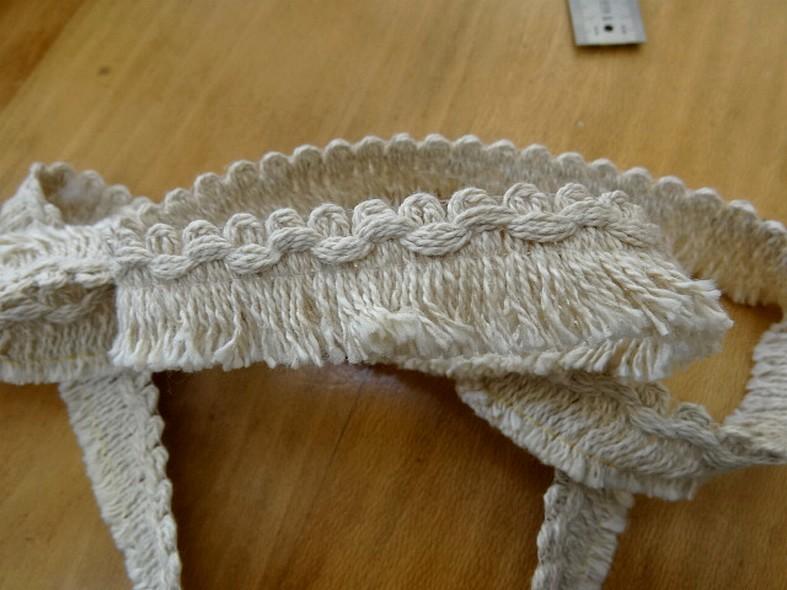 frange courte lin coton écru bord croquet