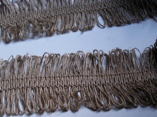 Frange lin naturel double boucles 2