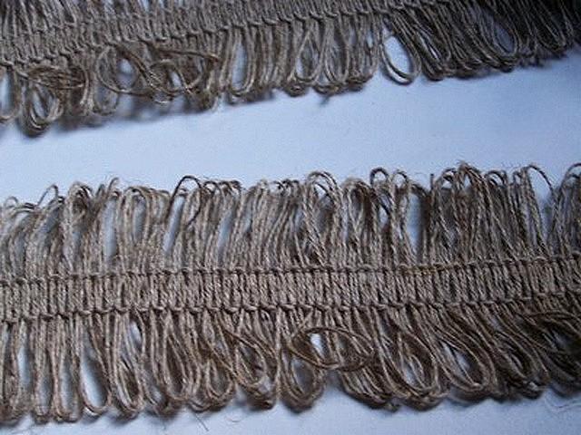 Frange lin naturel double boucles 3