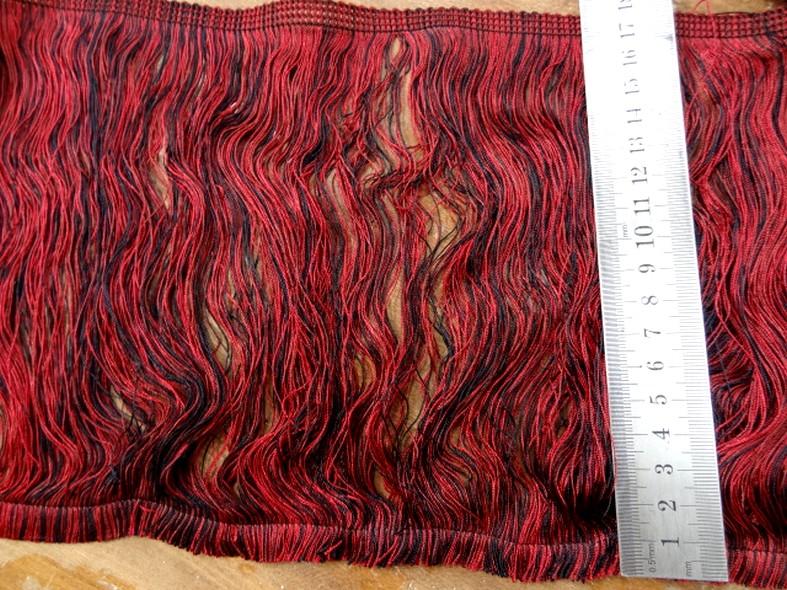 Frange rayonne bicolore rouge noir 18 cm 1