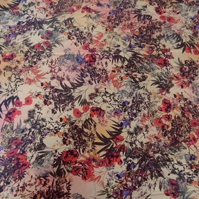 Gabardine coton lycra fleurs des champs 1