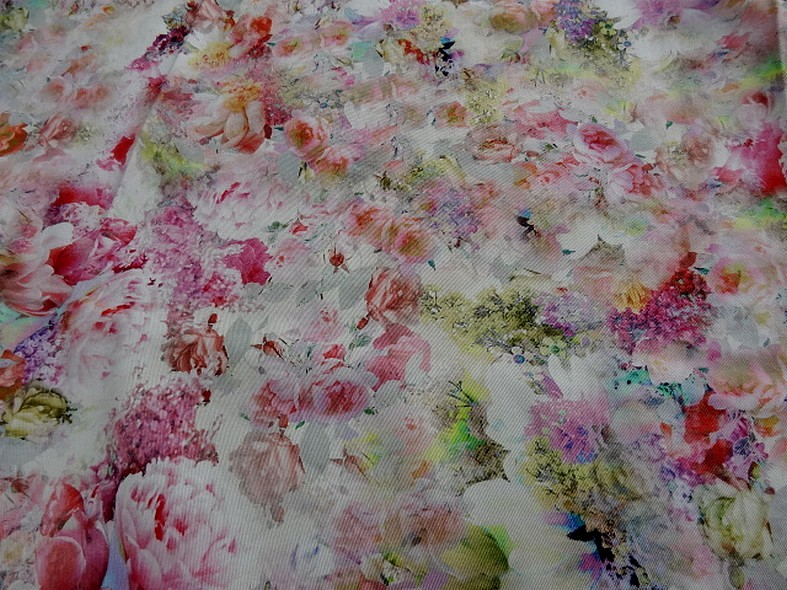 Gabardine coton lycra fleurs rose tendre et saumon 4