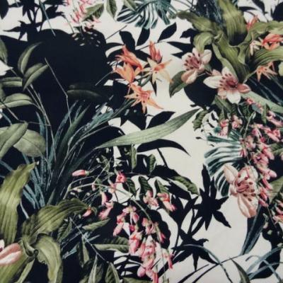 Gabardine coton lycra imprimee gerbes de fleurs 2