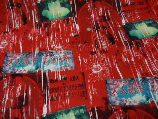 Gabardine coton lycra rouge imprimé chinois