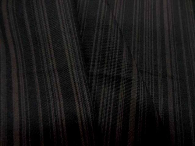 Gabardine coton lycra noire a rayure cafe au lait 2