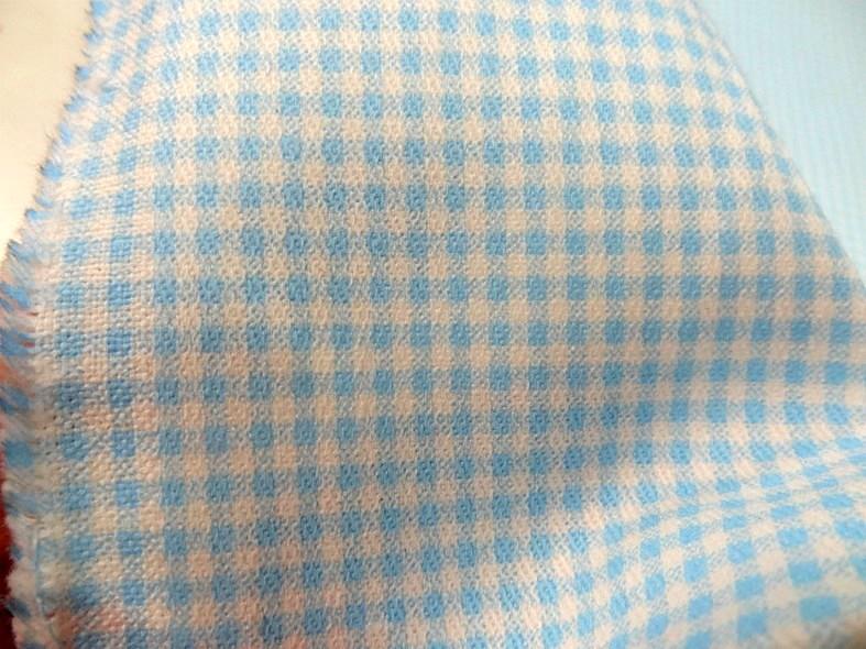 Gabardine legere coton vichy blanc et turquoise 1