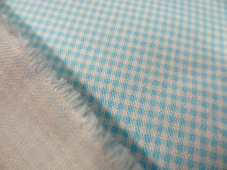 Gabardine legere coton vichy blanc et turquoise 2