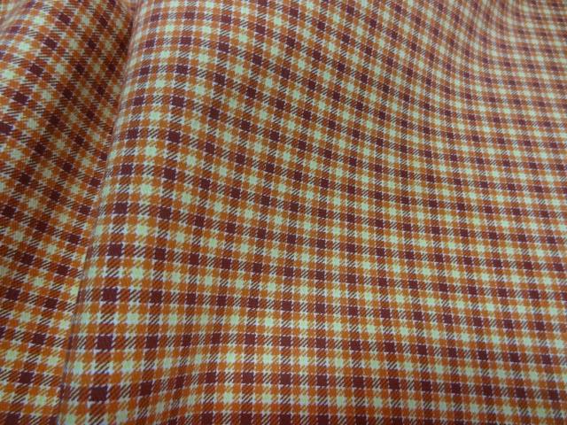 Gabardine lycra coton carreaux ecolier bordeaux abricot 2