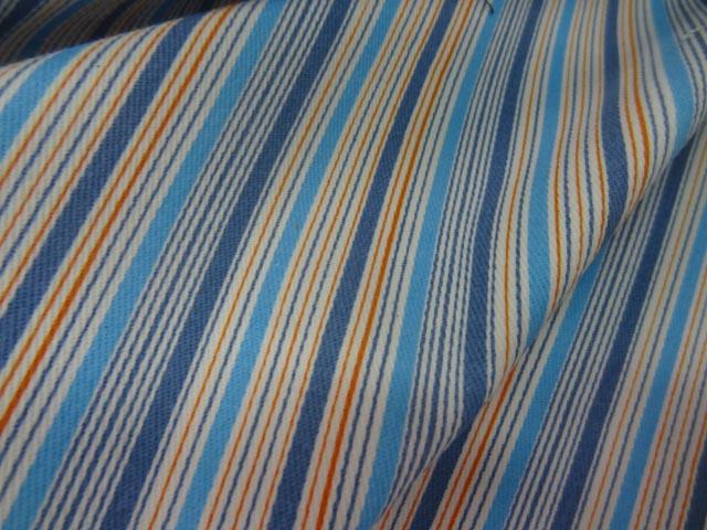 Gabardine lycra en coton bleu imprime bayadere 1