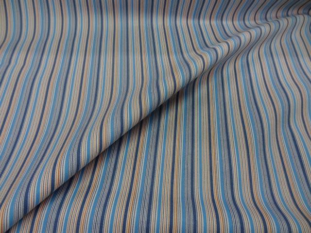 Gabardine lycra en coton bleu imprime bayadere 2