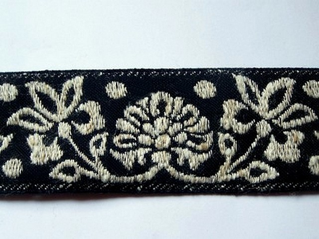 Galon albus coton melange noir et blanc creme 3