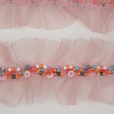 Galon ballet resille rose et perles rocaille 2