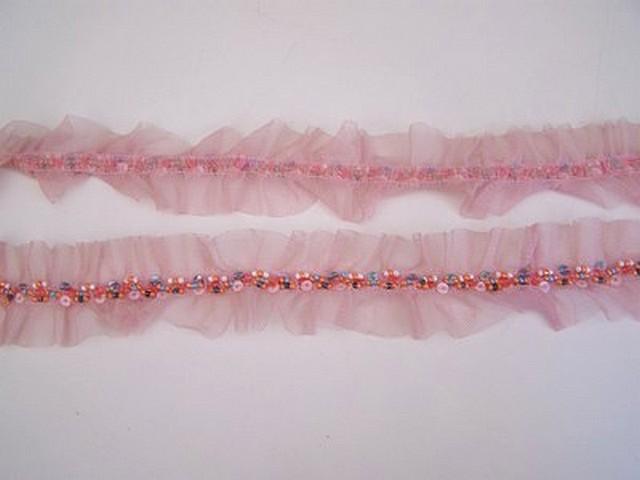 Galon ballet resille rose et perles rocaille 3