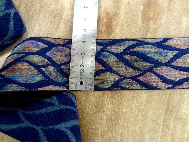 Galon bleu saphir feuillage multicolore 1