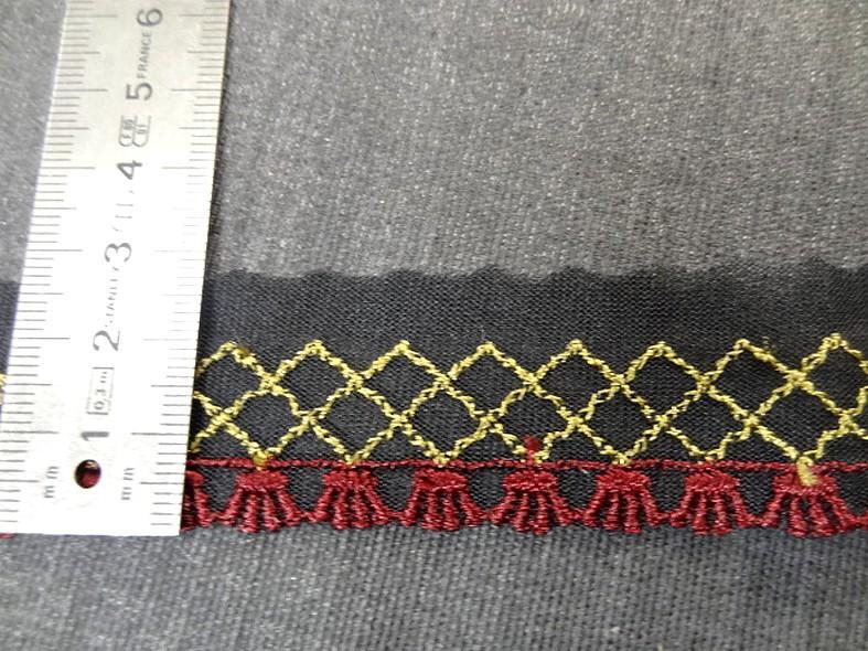 Galon bordure sur resille noire brodee bordeaux et vieil or 2