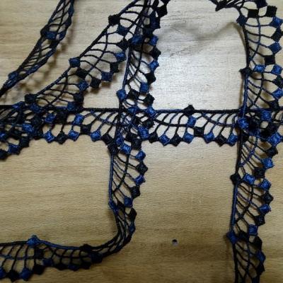 Galon brode bicolore noir et bleu saphir 3