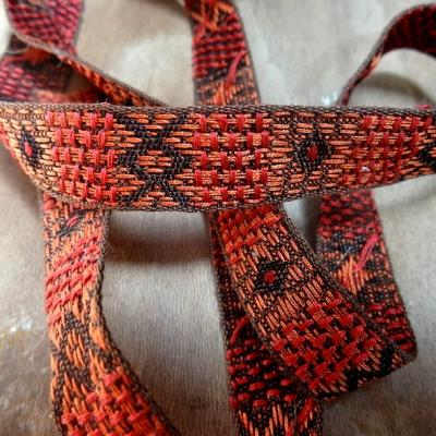 Galon coton tisse orange motif amerindien 1