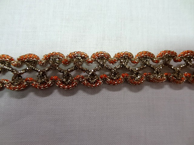 Galon curly marron orange lurex or 5
