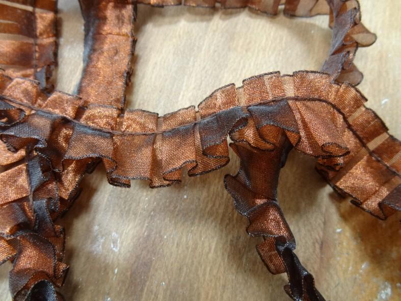 Galon d organza plis plat cuivre noir 1