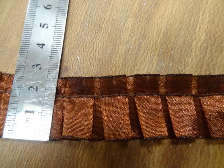 Galon d organza plis plat cuivre noir 2
