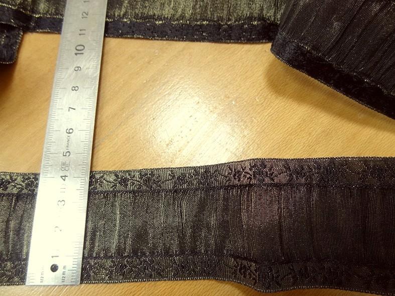 Galon de taffetas plisse noir et vieil or 2