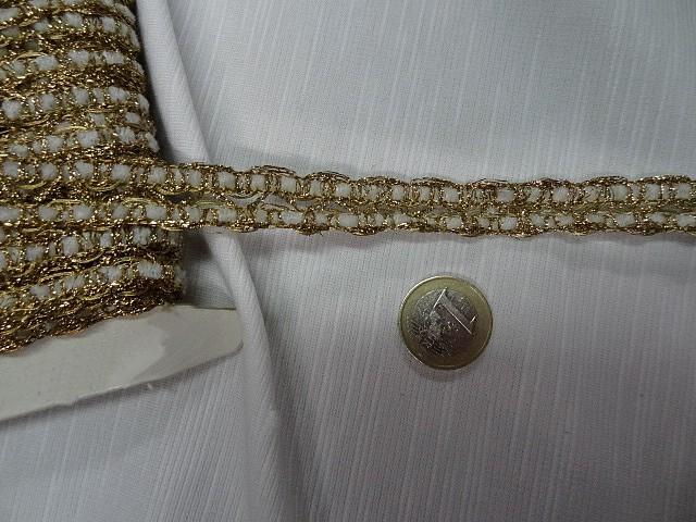 Galon duo chenille blanche et lurex dore 1