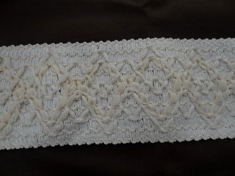 Galon elastique en fils coton blanc casse et creme 1