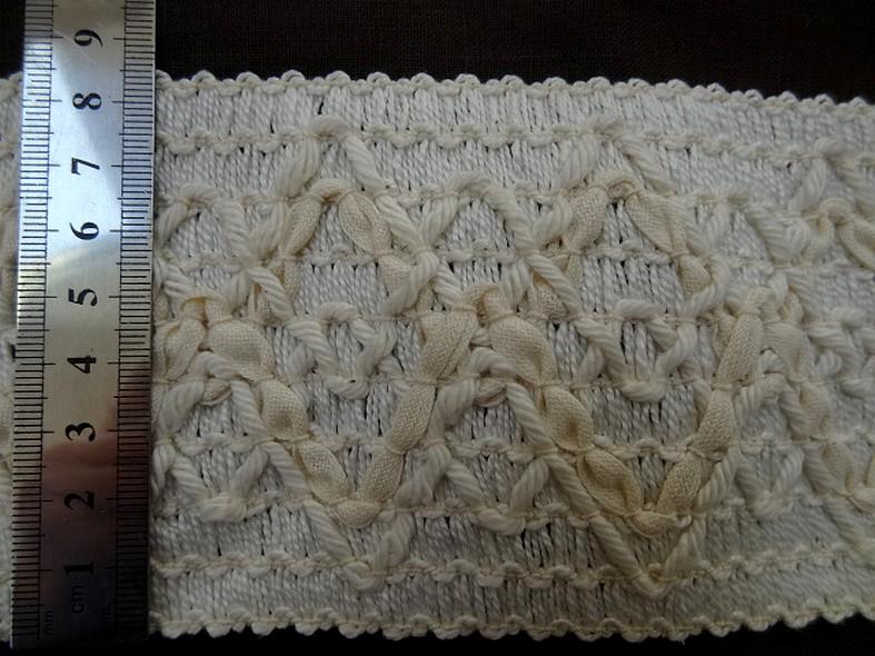 Galon elastique en fils coton blanc casse et creme 2