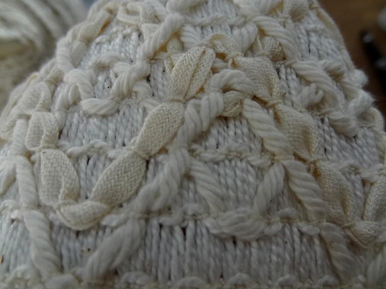 Galon elastique en fils coton blanc casse et creme 3